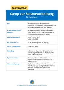 Camp zur Saisonvorbeitung für Erwachsene @ Tennisklub Blau-Gold Steglitz