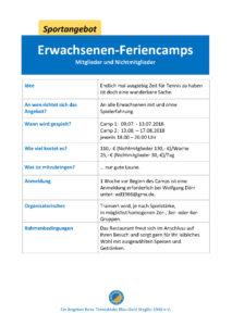 Feriencamp für erwachsene Mitglieder und Nichtmitglieder 2 @ Tennisklub Blau-Gold Steglitz | Berlin | Berlin | Deutschland