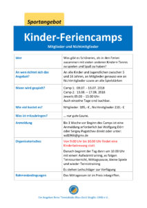 Kinder-Feriencamp 2 im August 2018 @ Tennisklub Blau-Gold Steglitz | Berlin | Berlin | Deutschland