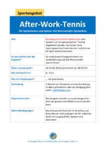 After-Work-Tennis @ Tennisklub Blau-Gold Steglitz | Berlin | Berlin | Deutschland