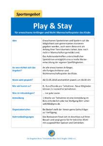 Play & Stay für Erwachsene @ Tennisklub Blau-Gold Steglitz | Berlin | Berlin | Deutschland