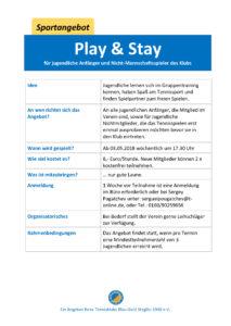 Play & Stay für Jugendliche @ Tennisklub Blau-Gold Steglitz | Berlin | Berlin | Deutschland