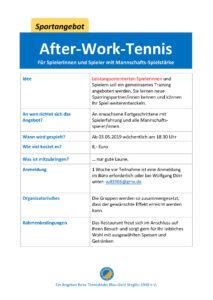 after-work-Tennis für Spieler*innen mit Mannschafts-Spielstärke