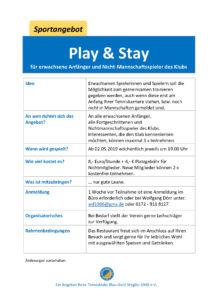 play & stay für Erwachsene und Nicht-Mannschaftsspieler*innen (entfällt) @ Tennisklub Blau-Gold Steglitz