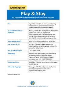 play & stay für Jugendliche und Nicht-Mannschaftsspieler*innen @ Tennisklub Blau-Gold-Steglitz